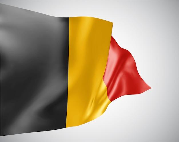 Бельгия, векторный флаг с волнами и изгибами, развевающимися на ветру на белом фоне.