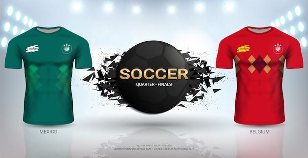 벨기에 vs 멕시코 축구 저지 템플릿.