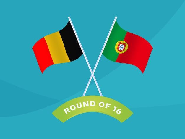 Belgium vs portugal round of 16 match, european football championship 2020 vector illustration. football 2020 championship match versus teams intro sport background