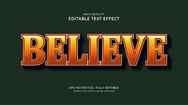 Believe text style effect, editable font effect.
