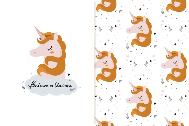 Believe unicorn illustration and pattern with baby colors