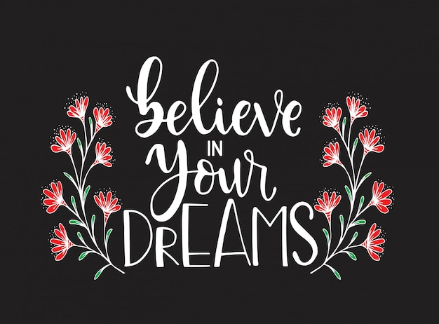 Believe in your dreams, hand lettering, motivational quotes