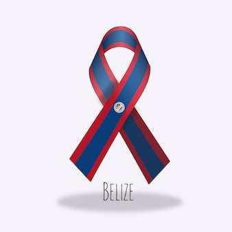Belize flag ribbon design