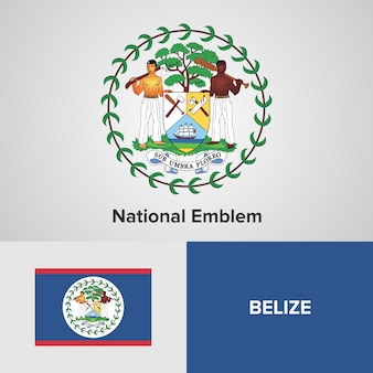 Belize map flag and national emblem