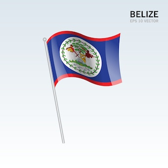 Belize waving flag isolated on gray background
