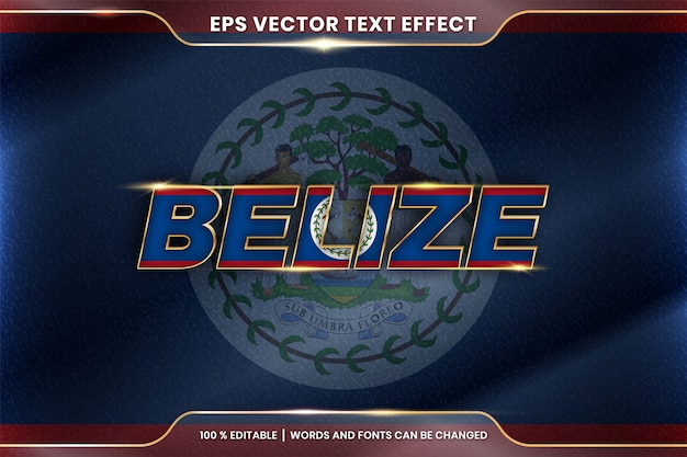 Belize with its national country waving flag, editable text effect style with gradient gold color concept