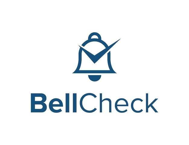 벨과 체크 표시가 심플하고 세련된 기하학적 현대적인 로고 디자인