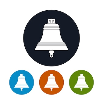 Bell icon, the four types of colorful round icons, vector illustration