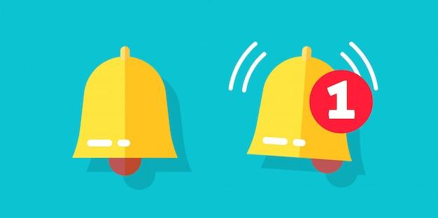 Значок колокольчика или дверной звонок плоский мультипликационный символ тревоги с уведомлением о предупреждении в качестве иллюстрации входящего сообщения