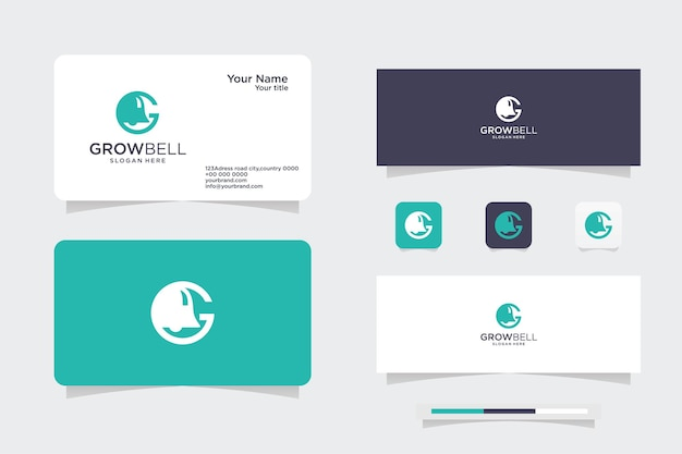 Bell logo g. bell icon, logo and business card design