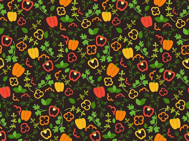 Bell pepper and herbs cartoon seamless pattern hand drawn vegetables yellow, green and red paprika flat colorful sweet pepper food.