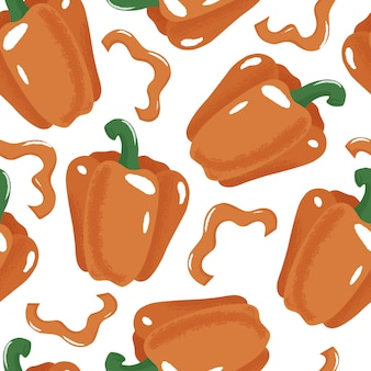 Bell pepper, paprika seamless pattern on white