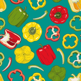 Bell pepper seamless pattern colorful red green yellow capsicum