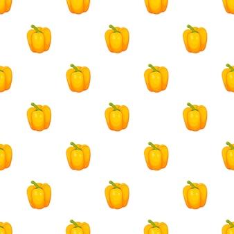 白い背景で隔離の甘い黄色のブルガリアペッパーのピーマンシームレスパターン。漫画のシンプルなスタイルで野菜のベクトルイラスト。ベクトルイラスト