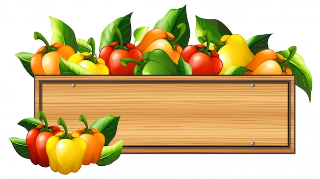 Bell peppers and wooden board