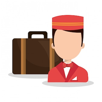 Bellboy service hotel isolated icon