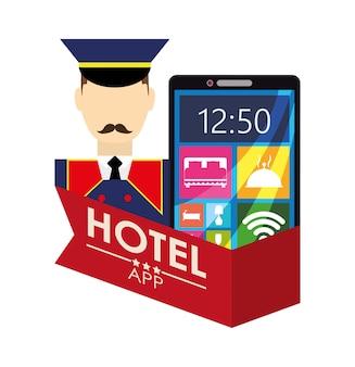 Bellboy smartphone and hotel digital apps design