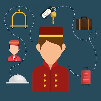 Bellboy working in the hotel character