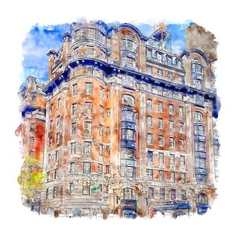 ベルクレアホテルニューヨーク水彩スケッチ手描き