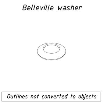 Belleville washer fastener outline blueprint