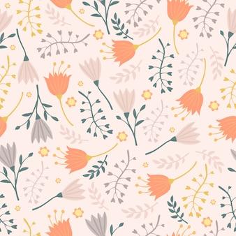 桔梗と葉のパターン