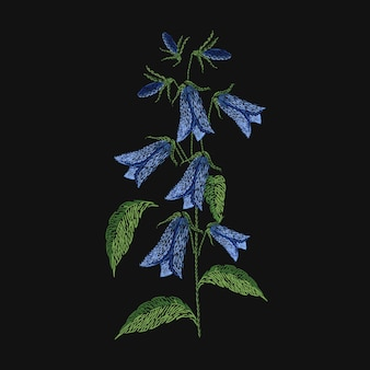 Bellflower embroidered with blue and green threads on black background