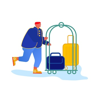 Bellhop, bellboy or bellman pushing luggage