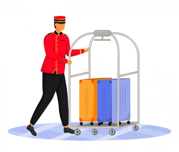 ベルマンフラットカラーイラスト。荷物を運ぶホテルの店員。ユニフォームのポーター。荷物カートとスーツケースのサービススタッフは、白い背景の上の漫画のキャラクターを分離
