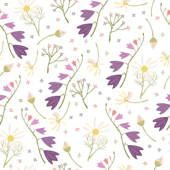 Bells and daisies seamless pattern