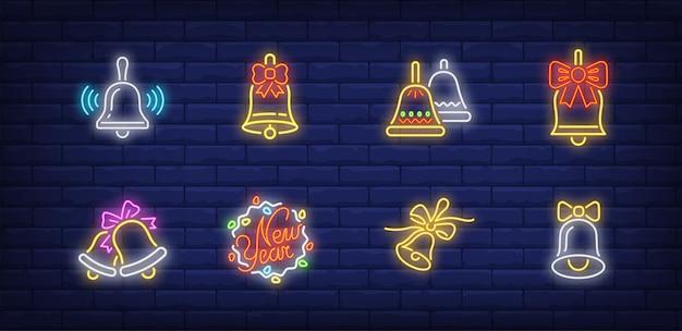 Bells symbols set in neon style