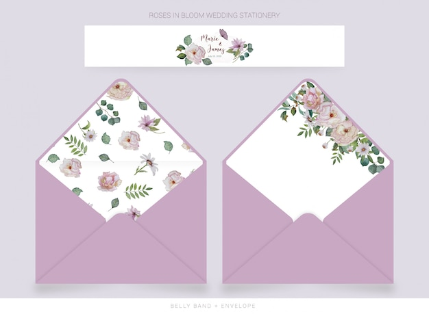 Belly band, envelope template with watercolor drawn flowers
