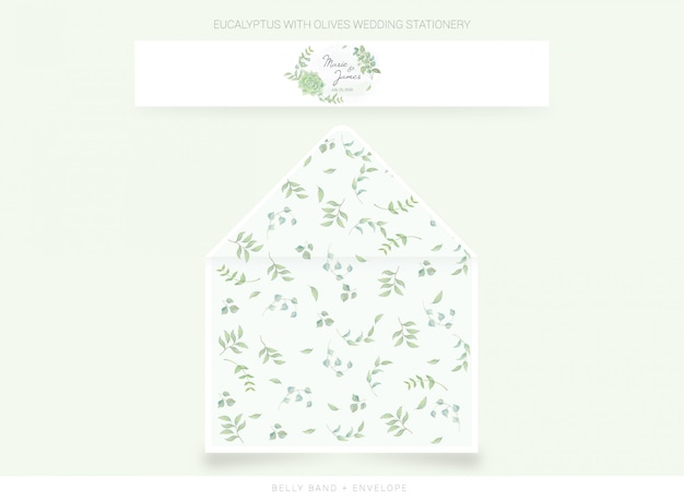 Belly band, envelope template with watercolor leaves