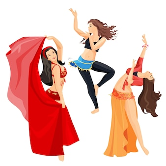 Belly dancers set of girls isolated on white background