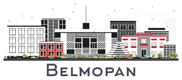 Бельмопан горизонт белиза с серыми зданиями, изолированными на белом. векторные иллюстрации. деловые поездки и концепция туризма с современной архитектурой. городской пейзаж бельмопана с достопримечательностями.