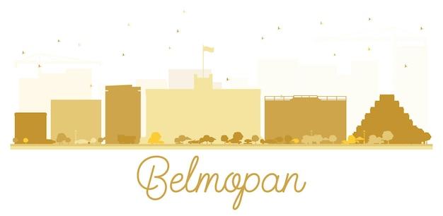 Belmopan city skyline golden silhouette. vector illustration. simple flat concept for tourism presentation, banner, placard or web site. cityscape with landmarks.