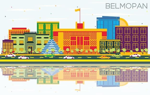 Горизонт бельмопана с цветными зданиями, голубым небом и отражениями. векторные иллюстрации. деловые поездки и концепция туризма с современной архитектурой. городской пейзаж бельмопана с достопримечательностями.