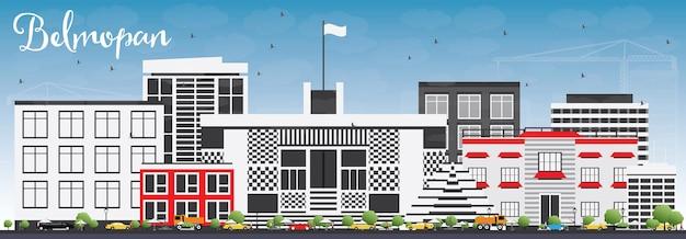 회색 건물과 푸른 하늘이 있는 벨모판 스카이라인. 벡터 일러스트 레이 션. 현대 건축과 비즈니스 여행 및 관광 개념입니다. 프레젠테이션 배너 현수막 및 웹사이트용 이미지.