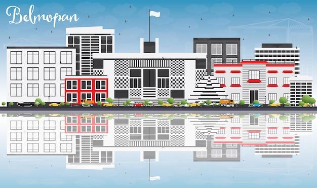 회색 건물, 푸른 하늘, 반사가 있는 벨모판 스카이라인. 벡터 일러스트 레이 션. 현대 건축과 비즈니스 여행 및 관광 개념입니다. 프레젠테이션 배너 현수막 및 웹사이트용 이미지.