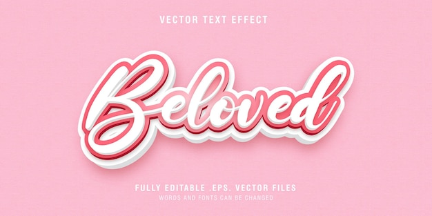Beloved text style effect editable