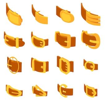 Belt buckle icons set. isometric illustration of 16 belt buckle icons set vector icons for web