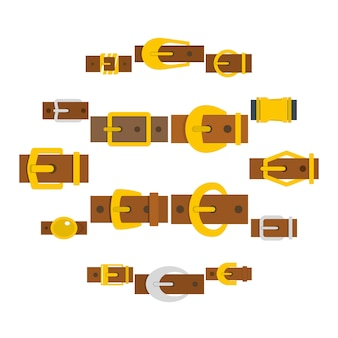 Набор иконок пряжки ремня в плоском стиле