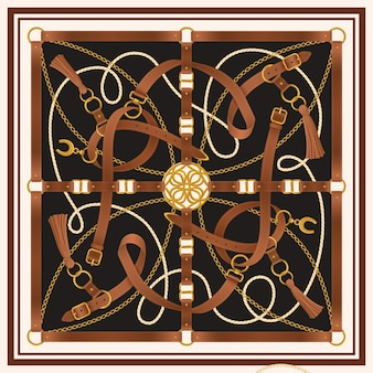 Belt decorative realistic square design with buckle and horseshoe illustration