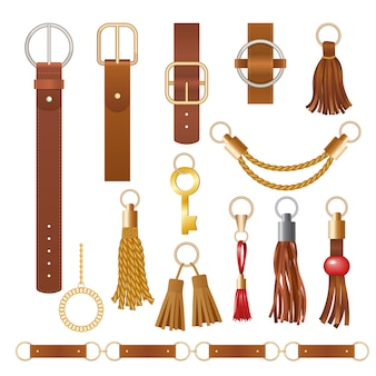 Belt elements. fashion leather chains fabric furniture elegant jewelry for clothes  collection