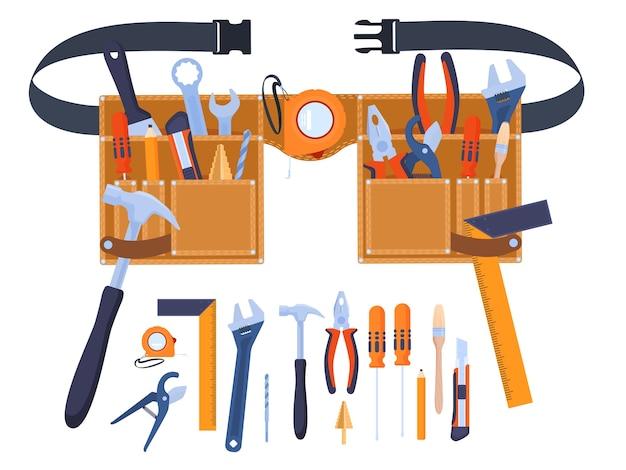 Ремень для инструментов. инструменты под рукой. ручной инструмент гаечные ключи, отвертки, щетки, молотки, рулетка, линейка, плоскогубцы. ремонт дома