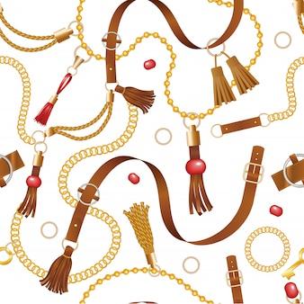 ベルトパターン。ファッション高級革チェーンとアクセサリーのシームレスな背景をひもで締める服の編み装飾