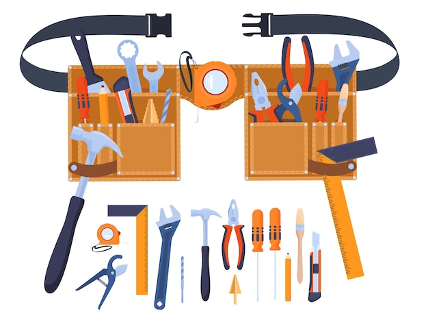 Belt for tools. tools at hand. hand tools wrenches, screwdrivers, brushes, hammers, tape measure, ruler, pliers. home renovation