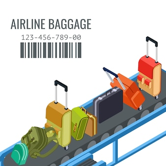 Belt transporter with different airline baggage   background
