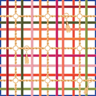 ベルト、チェーン、タッセルのシームレスパターン。生地、スカーフ、クラバットのためのカラフルなトレンディプリント