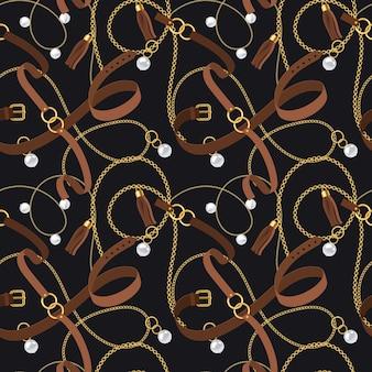 Ремни бесшовные модели. золотые цепочки и подвески, браслеты и кожаные ремешки, жемчужный аксессуар и элементы кольца - дизайн для модных обоев. вектор текстуры