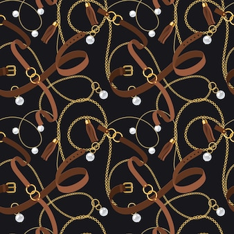 Belts seamless pattern. gold chains and pendants, bracelets and leather straps, pearl accessory and ring elements design for fashion wallpaper. vector texture